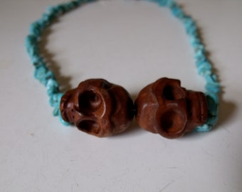 Large wood skull & turquoise necklace, skull necklace, wood skull, turquoise skull, day of the dead necklace, dia de Los muertos necklace