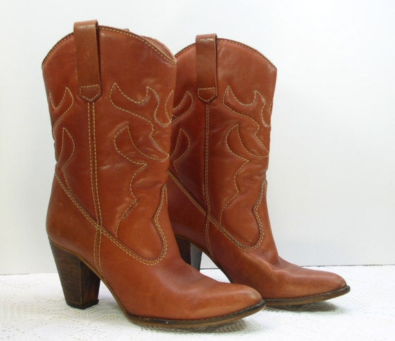town and country high heel cowboy western boots size 8 5b