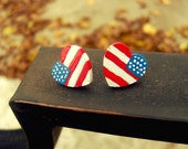 U.S.A American flag hand-painted wooden heart earrings