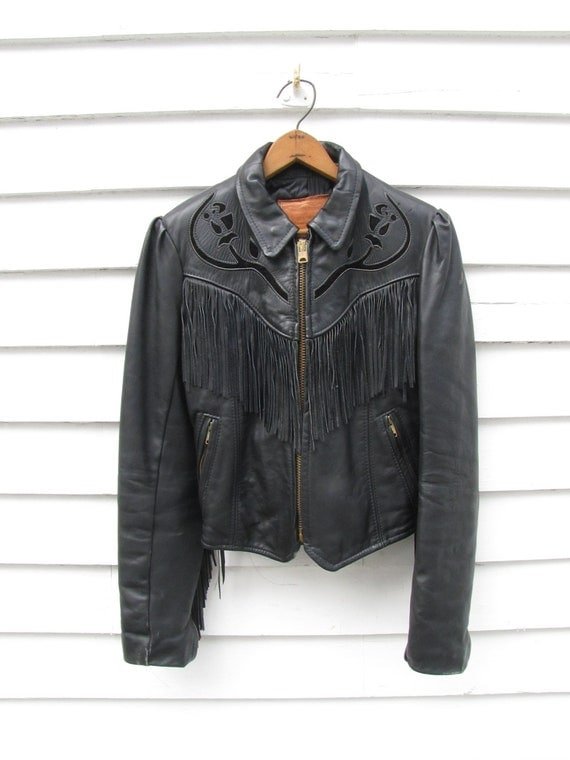 "SALE-Vintage leather jacket Womens-Vintage ""Walter Dyer"" leather jacket- size small"