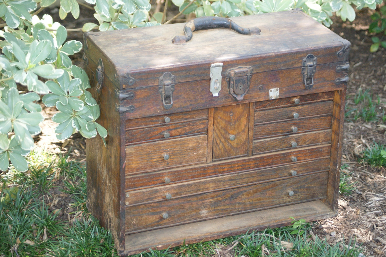 Wood Tool Chest ~ Vintage machinist wooden tool chest antique jewelry