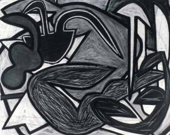 Chestnut Park Number 21 Abstract Charcoal Drawing