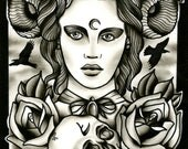 Horned Lady Death with skull roses and crows PRINT Tattoo art ink painting print