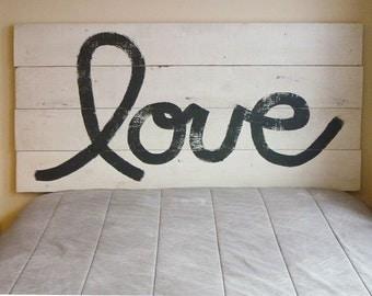 LOVE Rustic Headboard - Barn Wood Style - Handmade In Chicago