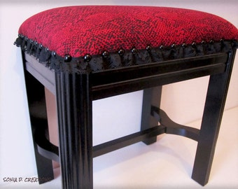 Black and red dressing-table stool/ bench - BURLESQUE style - PUNK-GOTH inspiration