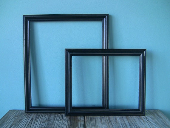 """Decorative """"Upcycled"""" Pair of Wooden Black Frames-Home Decor-Office Decor-8x10 and 11x13"""