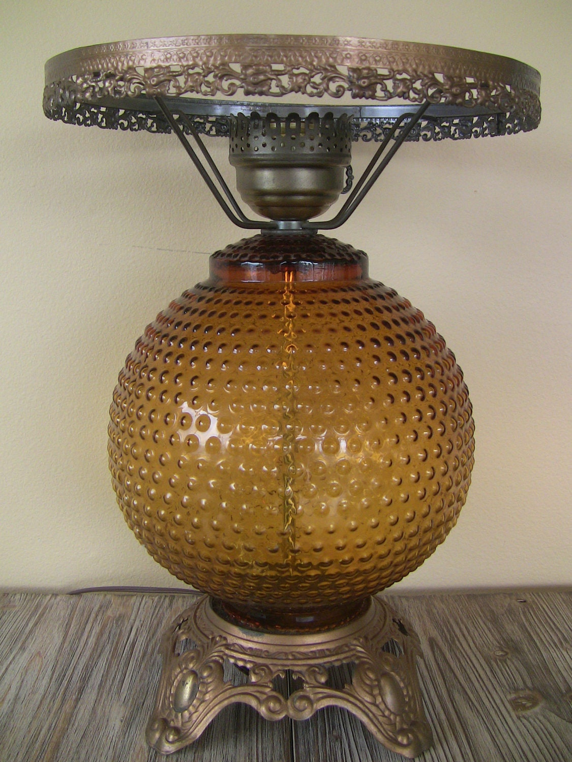 Beautiful Amber Glass Table Lamp Vintage Amber by ...