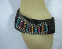 Blue Suede Shoes, Black with Multi Colored Gems, Gently worn once, Size 8.5,