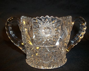 Vintage Crystal Sugar and Creamer Set.