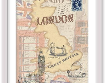 "London - England. UK. Great Britain Decoration print stylized for post card. Large print 13""x19""."