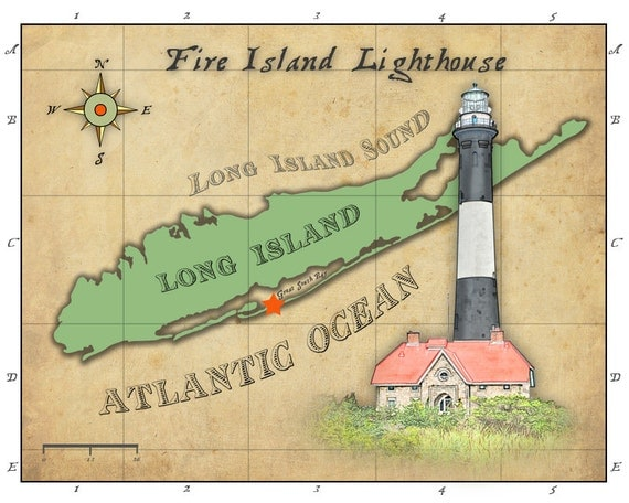 Fire Island Lighthouse and stylized Long Island vintage map. Decoration print. 8x10.