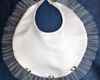 Wedding Bibs - 1 Bridal Bib in white or ivory/cream satin - Bibs for Bride and Groom
