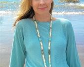 "Seascape ""Water"" Mala Prayer Bead Necklace"