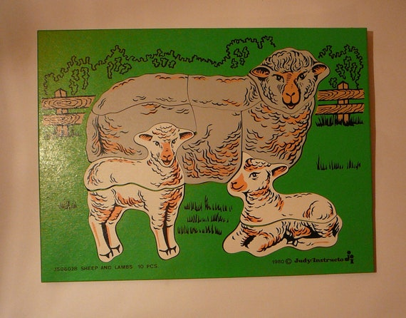 Wooden puzzle Sheep and Lambs 10 peices 1980 Judy Instructo