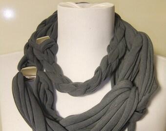Grey braided Charm scarf