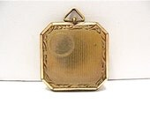 Large Antique Gold Filled Locket Interesting Shape Great Pix Inside 27 mm 11.7 grams #95