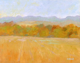 Looking Over The Fields, Fine Art Canvas Giclee, 8 x 10