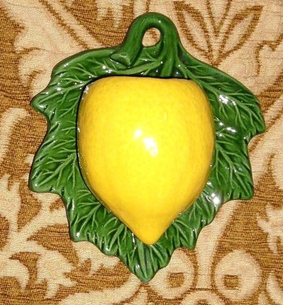 Lemon Wall Pocket - Vintage Pottery Planter Vase