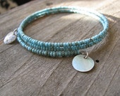 Turquoise Beaded Bangle with Natural Shell Charms, Upcycled, Eco-Friendly Jewelry, Boho Layering Bracelet, Thin Beaded Cuff Bracelet, Beachy