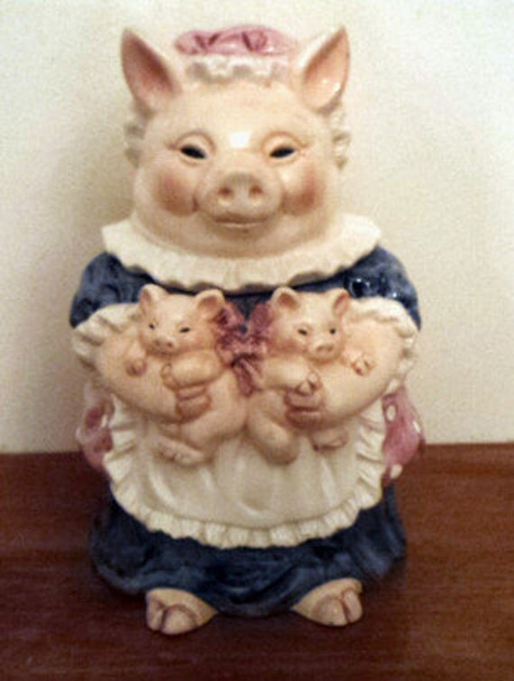 Collectible Pig Cookie Jar Sugar Canister Candy Jar Heritage Mint LTD Mama & Two Piglets Very Cute Fabulous Porcelain Art Piece