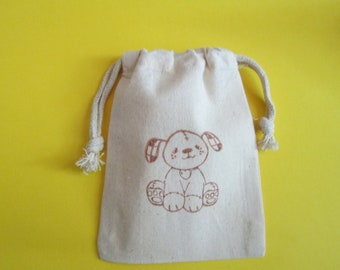 Puppy Muslin Bags / Set of 10 / Perfect for Birthday Parties