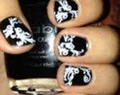 White or Black Lace Vinyl Nail Decals