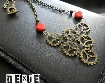 Valentine's Steampunk / Victorian Gear It Up Necklace