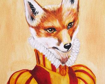 Prince Fox  -Original  Painting Acrylic- Kids Wall Art Dictionary Dorm Decors Nursery Hand paint canvas