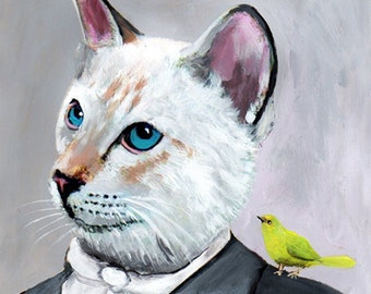 Digital Print Illustration Print Art Poster Acrylic Painting Kids Decor Drawing Illustration Gift : Dandy Cat