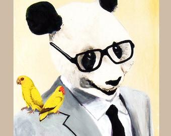 Panda with 2 Birds- Art Print Poster - Drawing Illustration - Acrylic Painting - Art Decor