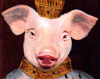 Illustration Print Art Poster Acrylic Painting Kids Decor Drawing Gift : King Piggy