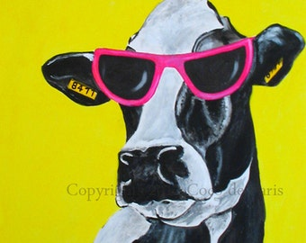 Print Illustration Art Poster Acrylic Painting Kids Decor Drawing Gift : Jetset cow goes Hollywood