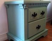 Pale Seafoam / Aquamarine vintage distressed nightstand