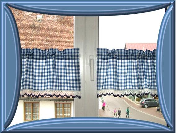 items similar to scheibengardinen paar blau wei kariert mit spitze blau wei on etsy. Black Bedroom Furniture Sets. Home Design Ideas
