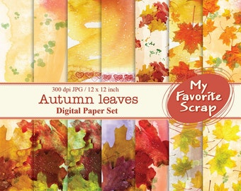 Autumn leaves Digital Papers Set (14 printable). Digital Printable Paper Pack - For Commercial or Personal Use