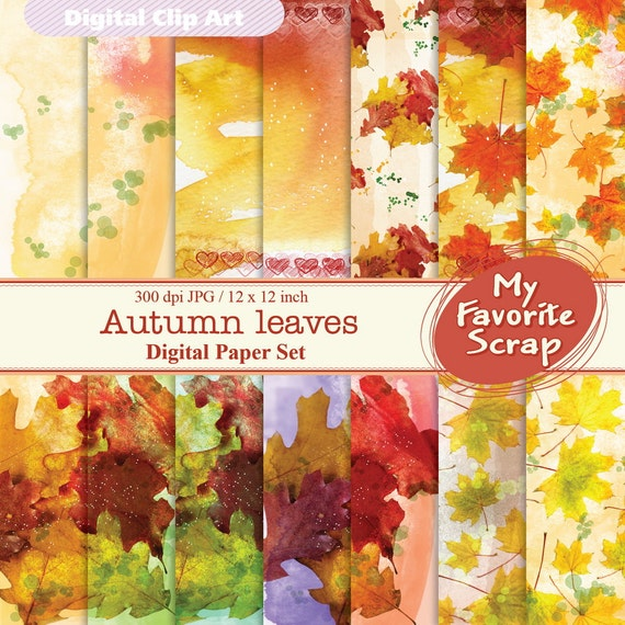 Autumn leaves Digital Papers Set (14 printable). Digital Printable Paper Pack - For Commercial or Personal Use. Buy a postcard and Digital P