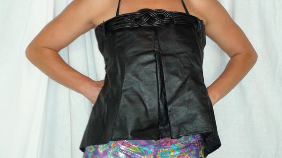 Recycled Leather Halter Top with Braid design
