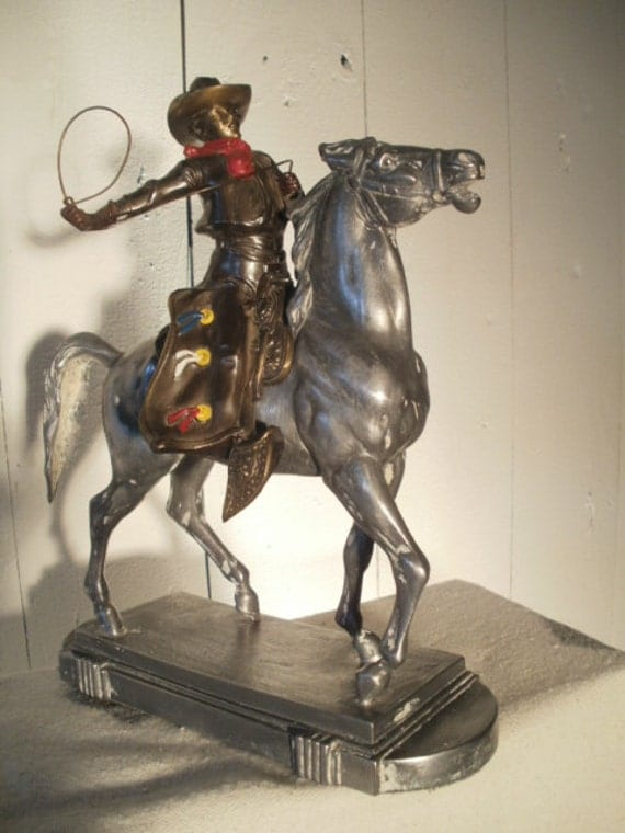 Vintage 1940s Spelter Statue of Mounted Cowboy with Lasso