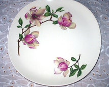 Delmar Diana Large Floral 10 inch Dinner Plate Pink Magnolia Flowers Crooksville Pattern Iva Lure Vintage China Tableware