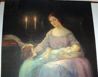 Victorian Mother Holding Baby Vintage Lithograph Print Mother in candlelight Titled Eventide Ready to frame