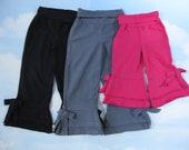 Ruffle Bow Pants 100% Cotton, Black, Grey, Fuchsia