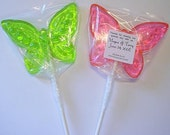 1 dz Hard Candy Butterfly Shaped Lollipop Wedding Favors w/ Personalized Back Labels