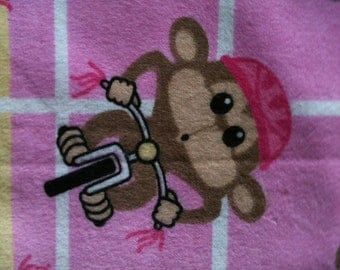 Receiving blanket for baby girl - pink plaid monkey