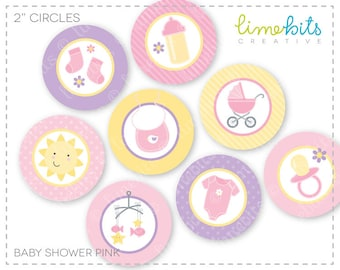 "2"" Baby Shower Pink Circles."