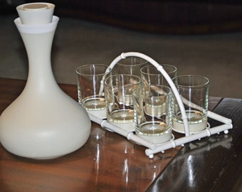 """Price Reduction - David DOUGLAS  THERM  WARE  """"Genie"""" Carafe and 6 matching glasses with attached coasters in a white carrier."""