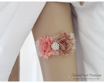 Bridal Bridesmaids Garter Wedding Jeweled Lace Garter with Brooches, Crystals, Pearls and Handmade Flowers