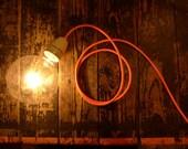 Pure Leuchte, Pendelleuchte, Bodenleuchte mit Neon Textilkabel (3m) und Riesenglühlampe, Lampe, Berlin Bulb
