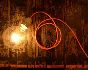 Lamp, Pendant, Floor Lamp with long neon textile cable (3m), Berlin Bulb