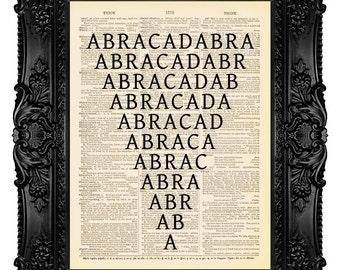 Abracadabra - ORIGINAL ARTWORK -Dictionary Art Print Vintage Upcycled Antique Book Page no.214