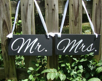 Mr. and Mrs.   Wedding Sign   Wood sign   Custom Wedding Sign   Photo Prop   Black and White Wedding   Chair Signs